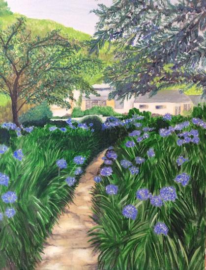 Agapanthus Garden - Art Gallery - Hampton London Artist Jennifer Brown