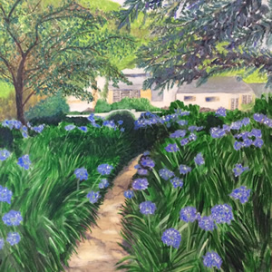 Agapanthus Garden – Art Gallery – Hampton London Artist Jennifer Brown