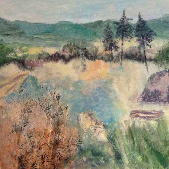 Ancient Landscape 1 - Acrylic Painting - Hampton London Artist Jennifer Brown