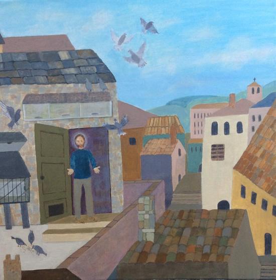 Art Gallery - Francis of Assisi and His Pigeons - Hampton London Artist Jennifer Brown