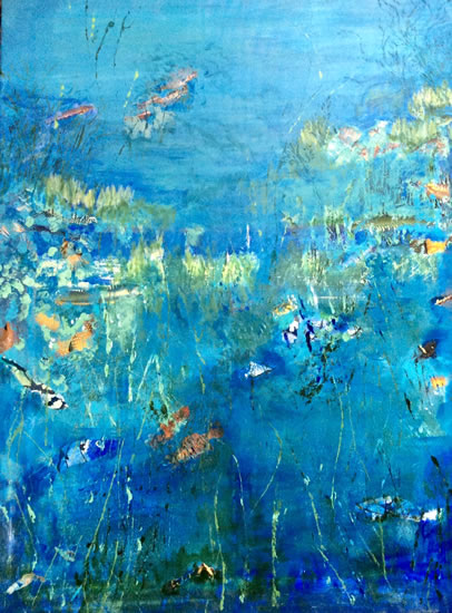 Plenty More Fish In The Sea - Acrylic Painting and Collage - Hampton London Artist Jennifer Brown